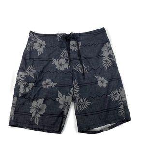 Hang Ten Board Shorts Swim Wear Gray Floral